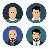 Fronti maschii piani Icone del cerchio di vettore Fotografia Stock