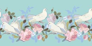 Fronti?re bleue avec la rose et la colombe illustration stock