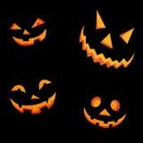 Fronti spaventosi della zucca di Halloween Fotografia Stock Libera da Diritti