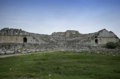 Frontial wide angle view of Miletus ancient theater ruins stock images