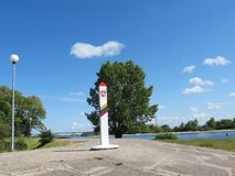 Frontier. Pole near Russian in Rusne, Lithuania royalty free stock photography