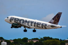 A Frontier Airlines Airbus. Taking off from Milwaukee royalty free stock photo