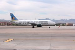 Frontier Airlines. LAS VEGAS, USA - APRIL 15, 2014: Airbus A320 of Frontier Airlines at Las Vegas McCarran International Airport. Frontier carried almost 15 Stock Photos
