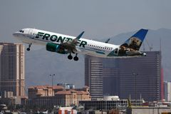 Free Frontier Airlines Taking Off From Las Vegas Airport, LAS Stock Photos - 150866483
