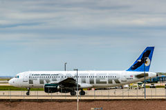 Frontier airplanes on the ground at DIA Royalty Free Stock Photo
