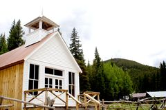Frontier Church. An old church in St. Elmo, a ghost town in the Colorado Rocky Mountains. St. Elmo is one of Colorado's best-preserved ghost towns Royalty Free Stock Images