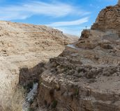 The frontier cross belonging to the monastery of St. George Hosevit Mar Jaris stands on the road leading to the monastery near M. Near Mitzpe Yeriho, Israel Stock Image