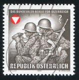 Frontier guards Austria. AUSTRIA - CIRCA 1969: stamp printed by Austria, shows Frontier guards, circa 1969 Royalty Free Stock Photo