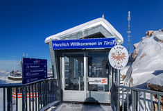 Frontier at the peak of Zugspitze, Germany. Frontier Germany Austria at the peak of Zugspitze, Germany Stock Image