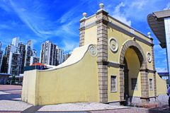 Frontier Post of the Border Gate, Macau, China. Frontier Post of the Border Gate is an immigration and customs checkpoint in the Portas do Cerco area in northern Royalty Free Stock Photos