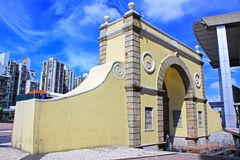 Frontier Post of the Border Gate, Macau, China. Frontier Post of the Border Gate is an immigration and customs checkpoint in the Portas do Cerco area in northern Stock Images