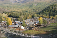 Frontier village. A small village just north of most of Xinjiang, China, is called the white buses, live tuwaren, Kazak and Mongolian people Stock Photography