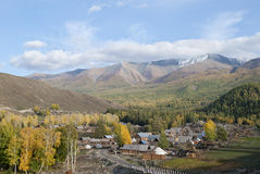 Frontier village. A small village just north of most of Xinjiang, China, is called the white buses, live tuwaren, Kazak and Mongolian people Royalty Free Stock Image