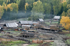 Frontier village. A small village just north of most of Xinjiang, China, is called the white buses, live tuwaren, Kazak and Mongolian people Stock Photo