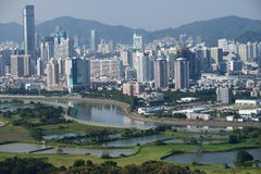 Frontiera fra Hong e la Cina Fotografia Stock