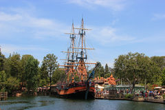 Frontierland at Disneyland. Anaheim, California, USA - May 30, 2014: The Sailing Ship Columbia, a full scale replica of Columbia Rediviva - the first American stock photos
