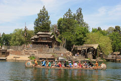 Frontierland at Disneyland. Anaheim, California, USA - May 30, 2014: Scenery of Frontierland, which is home to the Pinewood Indians Band of Animatronic Native royalty free stock photos