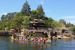 Frontierland at Disneyland. Anaheim, California, USA - May 30, 2014: Scenery of Frontierland, which is home to the Pinewood Indians Band of Animatronic Native royalty free stock photography
