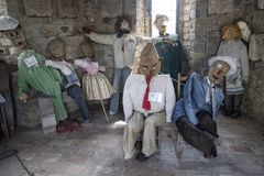 Frontino Marches, Italy: Museum of the scarecrows. FRONTINO, ITALY - JULY 4, 2017: Frontino, historic village in Montefeltro, Pesaro Urbino, Marches, Italy Stock Image