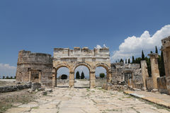 Frontinus Gate and Street in Hierapolis Ancient City, Turkey Royalty Free Stock Photos