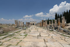 Frontinus Gate and Street in Hierapolis Ancient City, Turkey Stock Photography
