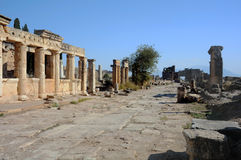 Frontinus Street in Hierapolis. Frontinus street with the latrine on the left in ancient Hierapolis Stock Images