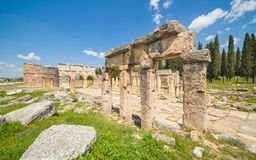Hierapolis ancient city adjacent to modern Pamukkale in Turkey Stock Images