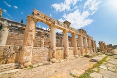 Frontinus Street at Hierapolis near modern Pamukkale in Turkey Royalty Free Stock Photos