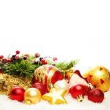 Frontière de décoration de Noël d'isolement Fond de carte de Noël Photos stock