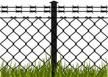 Frontière de sécurité de fil avec les fils barbelés Images stock