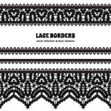 Frontière noire de dentelle réglée sur le blanc Photographie stock