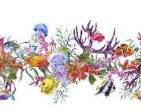 Frontière sans couture de vie marine d'aquarelle de vintage d'été Image libre de droits