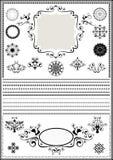 Frontières de luxe de collection et ornements circulaires sur le fond blanc Image stock