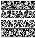 Frontières florales de fantaisie sur le fond blanc Photographie stock libre de droits