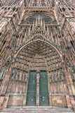 Frontispiece Cathedrale Notre-Dame or Cathedral of Our Lady in Strasbourg, Alsace, France Royalty Free Stock Photo