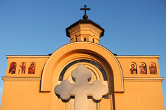 The frontispiece of an orthodox church in Arad Stock Images
