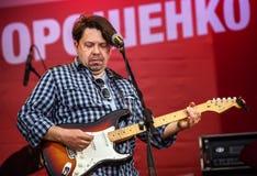 Frontman of rock band Plach Ieremii (Jeremiah's Cry) Taras Chu Stock Photos