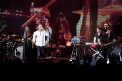 Frontman Svyatoslav Vakarchuk with the musicians on the stage Stock Photography