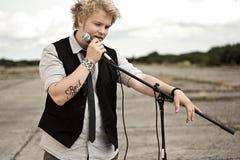 Frontman van popgroep Stock Foto's