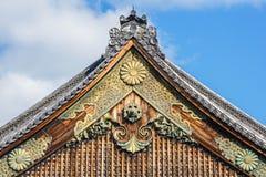 Fronton av den Ninomaru slotten på den Nijo slotten i Kyoto Arkivfoto