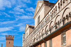 Fronton of Ferrara Duomo from piazza Trento Trieste Royalty Free Stock Photos