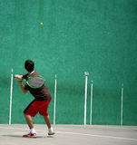Fronton field. Boy playing fronton Royalty Free Stock Photos