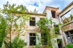 Frontowa fasada zaniechany budynek przerastająca roślinność i drzewa Obrazy Royalty Free