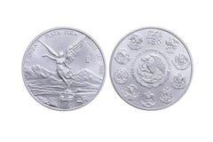 Frontowa i odwrotna Meksykańska srebna moneta Obrazy Royalty Free