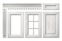 Frontowa kolekcja stary drewniany drzwi, kreślarz, kolumna, karnisz dla kuchennego gabineta odizolowywającego na bielu Obraz Stock