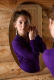 frontowa lustrzana kobieta Obraz Stock