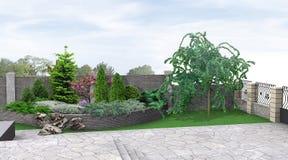Frontowego jarda flancowanie greenery, 3d rendering Obrazy Royalty Free