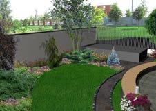 Frontowego jarda ogrodniczy tło, 3d odpłaca się Zdjęcia Stock