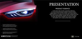 Frontowego widoku szablonu egzamin próbny w górę promoci z Czerwonym samochodem na ciemnym tle z logem i opisem w 3d wektoru ilus ilustracja wektor