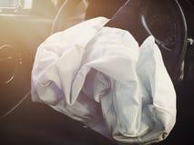 Frontowy Airbag Defalted od wypadku samochodowego zdjęcia royalty free